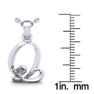 Letter Q Diamond Initial Necklace In White Gold With Free Chain