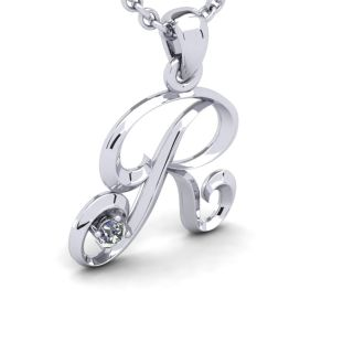 Diamond Initial Necklace, Letter R In Swirly Style, White Gold