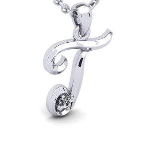 Diamond Initial Necklace, Letter T In Swirly Style, White Gold