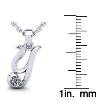 Diamond Initial Necklace, Letter Y In Swirly Style, White Gold