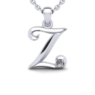 Diamond Initial Necklace, Letter Z In Swirly Style, White Gold