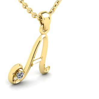 Diamond Initial Necklace, Letter A In Swirly Style, Yellow Gold