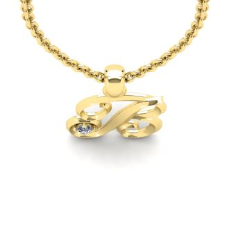 Diamond Initial Necklace, Letter B In Swirly Style, Yellow Gold