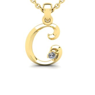 Diamond Initial Necklace, Letter C In Swirly Style, Yellow Gold