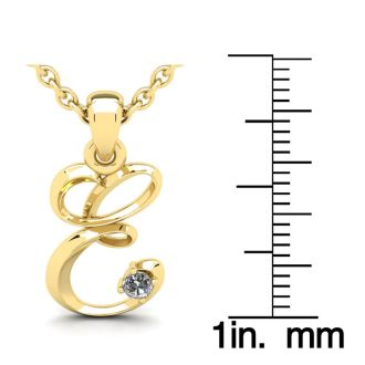 Diamond Initial Necklace, Letter E In Swirly Style, Yellow Gold