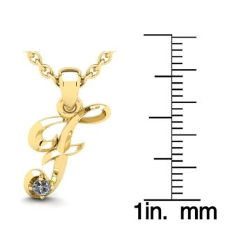 Diamond Initial Necklace, Letter F In Swirly Style, Yellow Gold