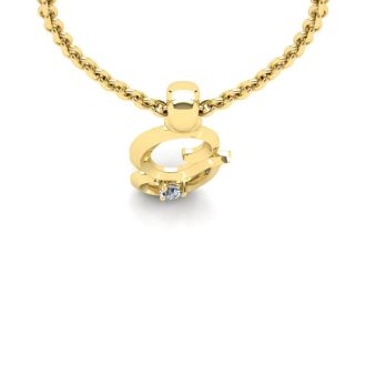 Diamond Initial Necklace, Letter G In Swirly Style, Yellow Gold