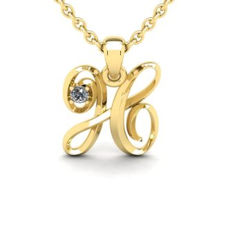 Letter H Diamond Initial Necklace In Yellow Gold With Free Chain