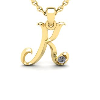Diamond Initial Necklace, Letter K In Swirly Style, Yellow Gold