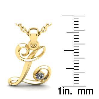 Diamond Initial Necklace, Letter L In Swirly Style, Yellow Gold