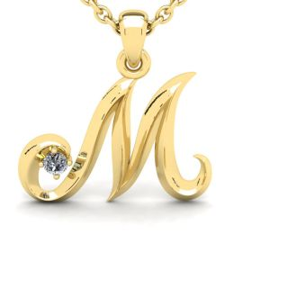 Diamond Initial Necklace, Letter M In Swirly Style, Yellow Gold