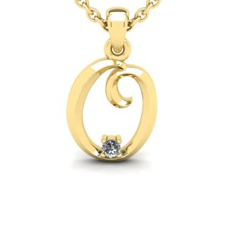 Letter O Diamond Initial Necklace In Yellow Gold With Free Chain