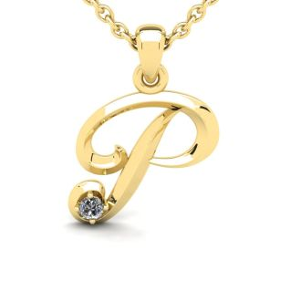 Diamond Initial Necklace, Letter P In Swirly Style, Yellow Gold