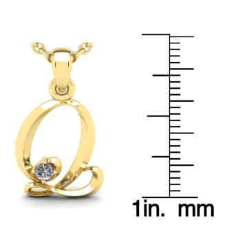 Diamond Initial Necklace, Letter Q In Swirly Style, Yellow Gold