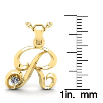 Diamond Initial Necklace, Letter R In Swirly Style, Yellow Gold