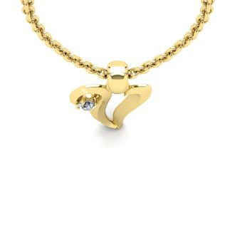 Diamond Initial Necklace, Letter V In Swirly Style, Yellow Gold