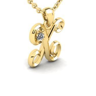 Diamond Initial Necklace, Letter X In Swirly Style, Yellow Gold
