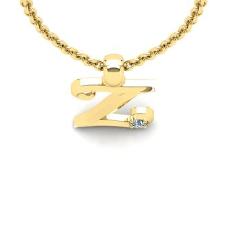 Diamond Initial Necklace, Letter Z In Swirly Style, Yellow Gold