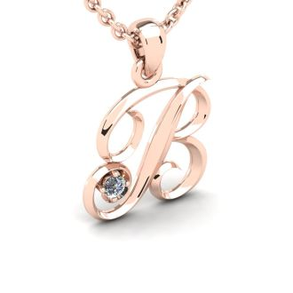 Diamond Initial Necklace, Letter B In Swirly Style, Rose Gold