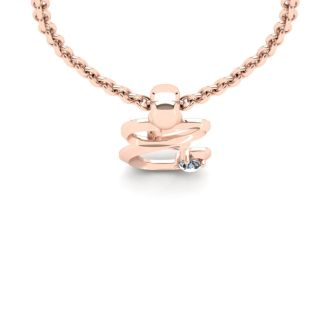 Diamond Initial Necklace, Letter E In Swirly Style, Rose Gold