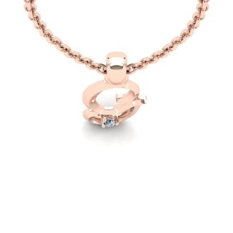Diamond Initial Necklace, Letter G In Swirly Style, Rose Gold