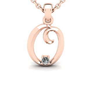 Diamond Initial Necklace, Letter O In Swirly Style, Rose Gold