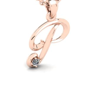 Diamond Initial Necklace, Letter P In Swirly Style, Rose Gold