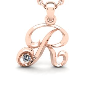 Diamond Initial Necklace, Letter R In Swirly Style, Rose Gold