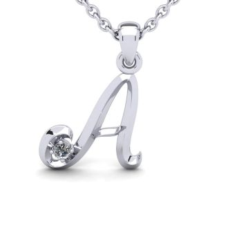 Diamond Initial Necklace, Letter A In Swirly Style, 14 Karat White Gold