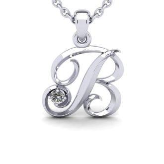 Diamond Initial Necklace, Letter B In Swirly Style, 14 Karat White Gold