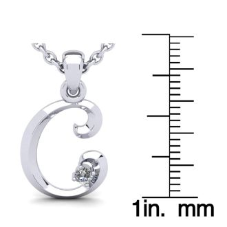 Diamond Initial Necklace, Letter C In Swirly Style, 14 Karat White Gold