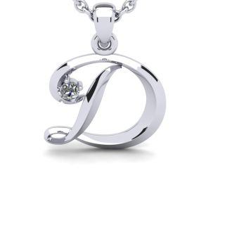 Letter D Diamond Initial Necklace In 14 Karat White Gold With Free Chain