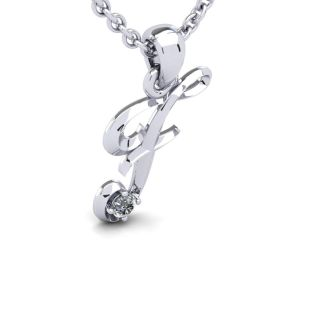 Diamond Initial Necklace, Letter F In Swirly Style, 14 Karat White Gold