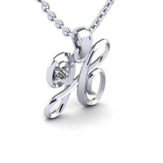 Diamond Initial Necklace, Letter H In Swirly Style, 14 Karat White Gold