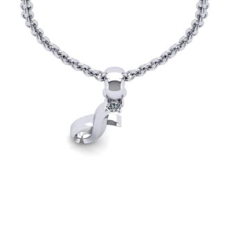 Diamond Initial Necklace, Letter I In Swirly Style, 14 Karat White Gold