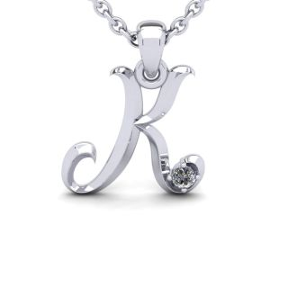 Diamond Initial Necklace, Letter K In Swirly Style, 14 Karat White Gold