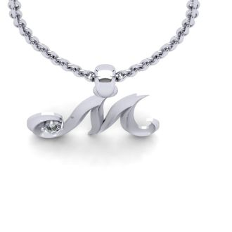 Diamond Initial Necklace, Letter M In Swirly Style, 14 Karat White Gold