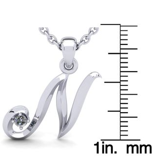 Diamond Initial Necklace, Letter N In Swirly Style, 14 Karat White Gold