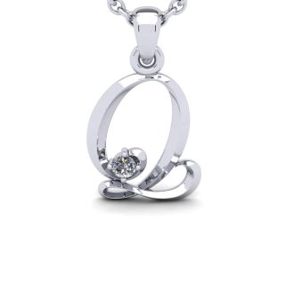 Letter Q Diamond Initial Necklace In 14 Karat White Gold With Free Chain