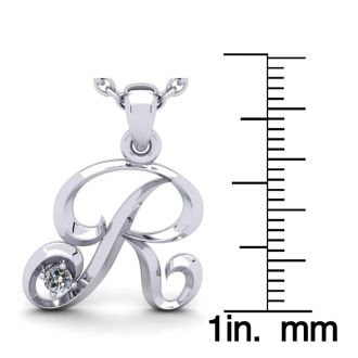 Diamond Initial Necklace, Letter R In Swirly Style, 14 Karat White Gold