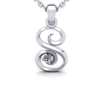Diamond Initial Necklace, Letter S In Swirly Style, 14 Karat White Gold