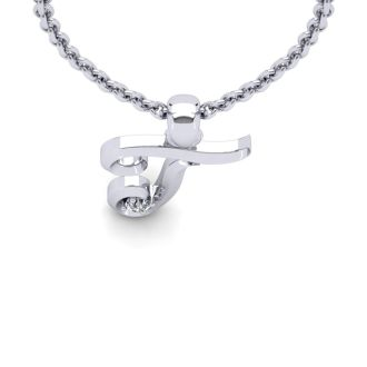 Diamond Initial Necklace, Letter T In Swirly Style, 14 Karat White Gold