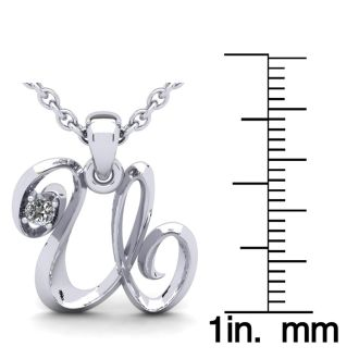 Letter U Diamond Initial Necklace In 14 Karat White Gold With Free Chain