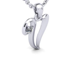 Diamond Initial Necklace, Letter V In Swirly Style, 14 Karat White Gold