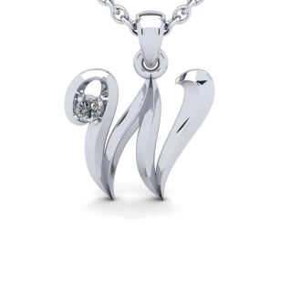Letter W Diamond Initial Necklace In 14 Karat White Gold With Free Chain