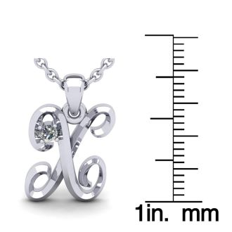 Diamond Initial Necklace, Letter X In Swirly Style, 14 Karat White Gold