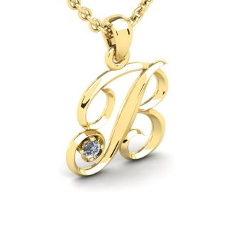 Letter B Diamond Initial Necklace In 14 Karat Yellow Gold With Free Chain
