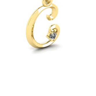 Diamond Initial Necklace, Letter C In Swirly Style, 14 Karat Yellow Gold