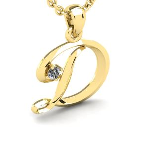 Diamond Initial Necklace, Letter D In Swirly Style, 14 Karat Yellow Gold