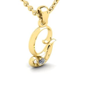 Diamond Initial Necklace, Letter G In Swirly Style, 14 Karat Yellow Gold